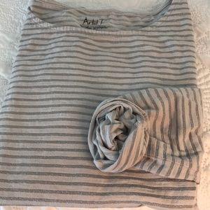 Jcrew long sleeve stripe lurex artist tee
